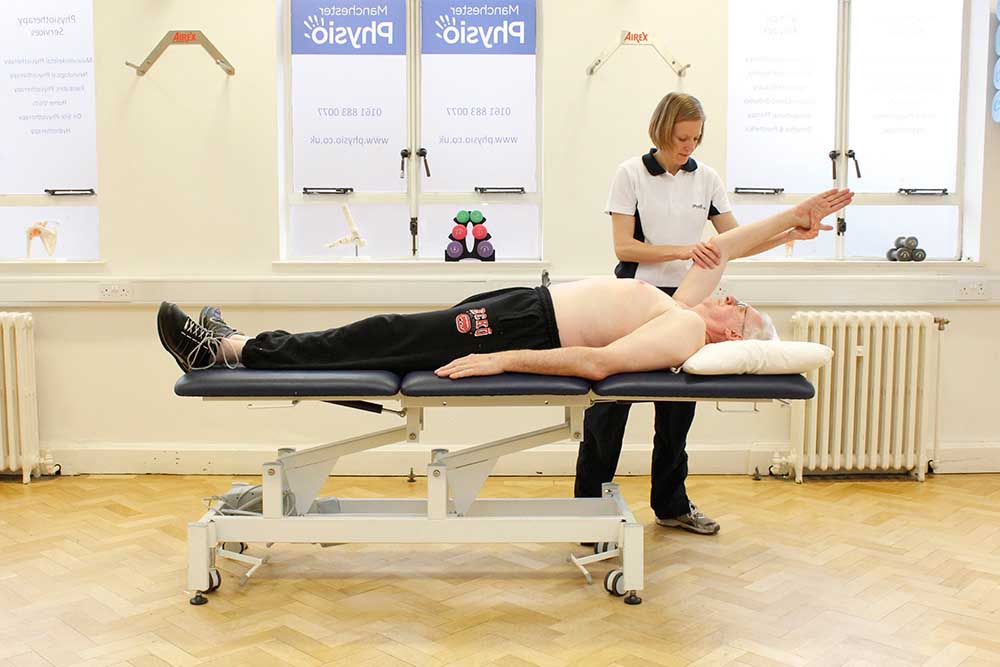 Upper limb mobility exercises conducted by a specialist physiotherapist