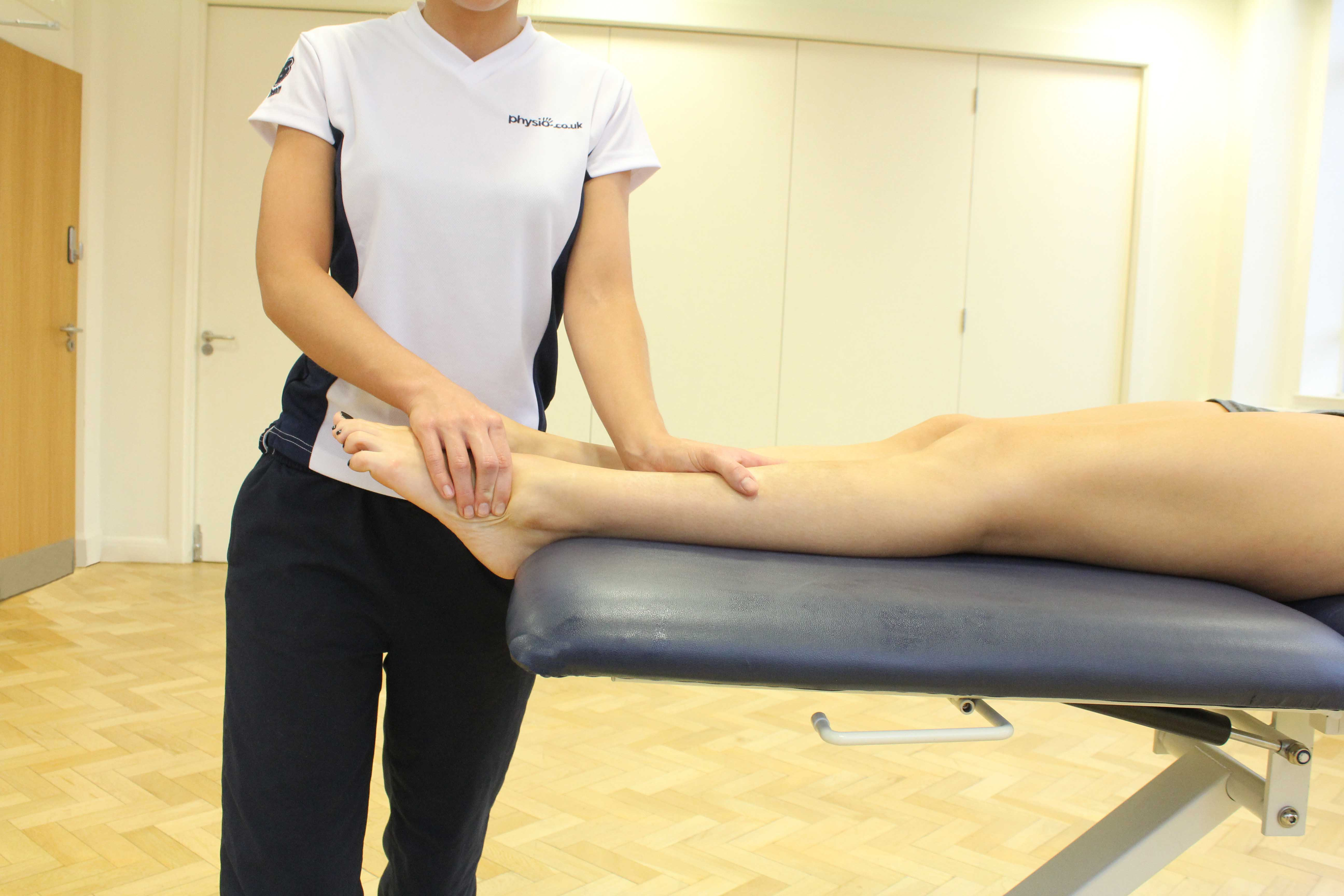 Active stretches of the foot and ankle performed under supervision by a specialist MSK physiotherapist