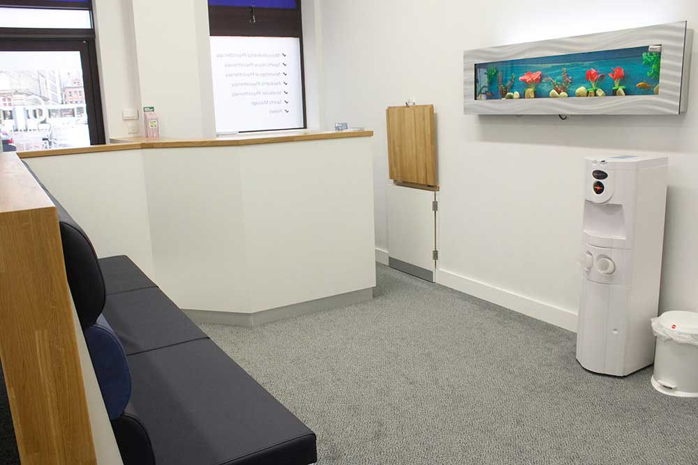 Reception area in our modern Minchull Street clinic