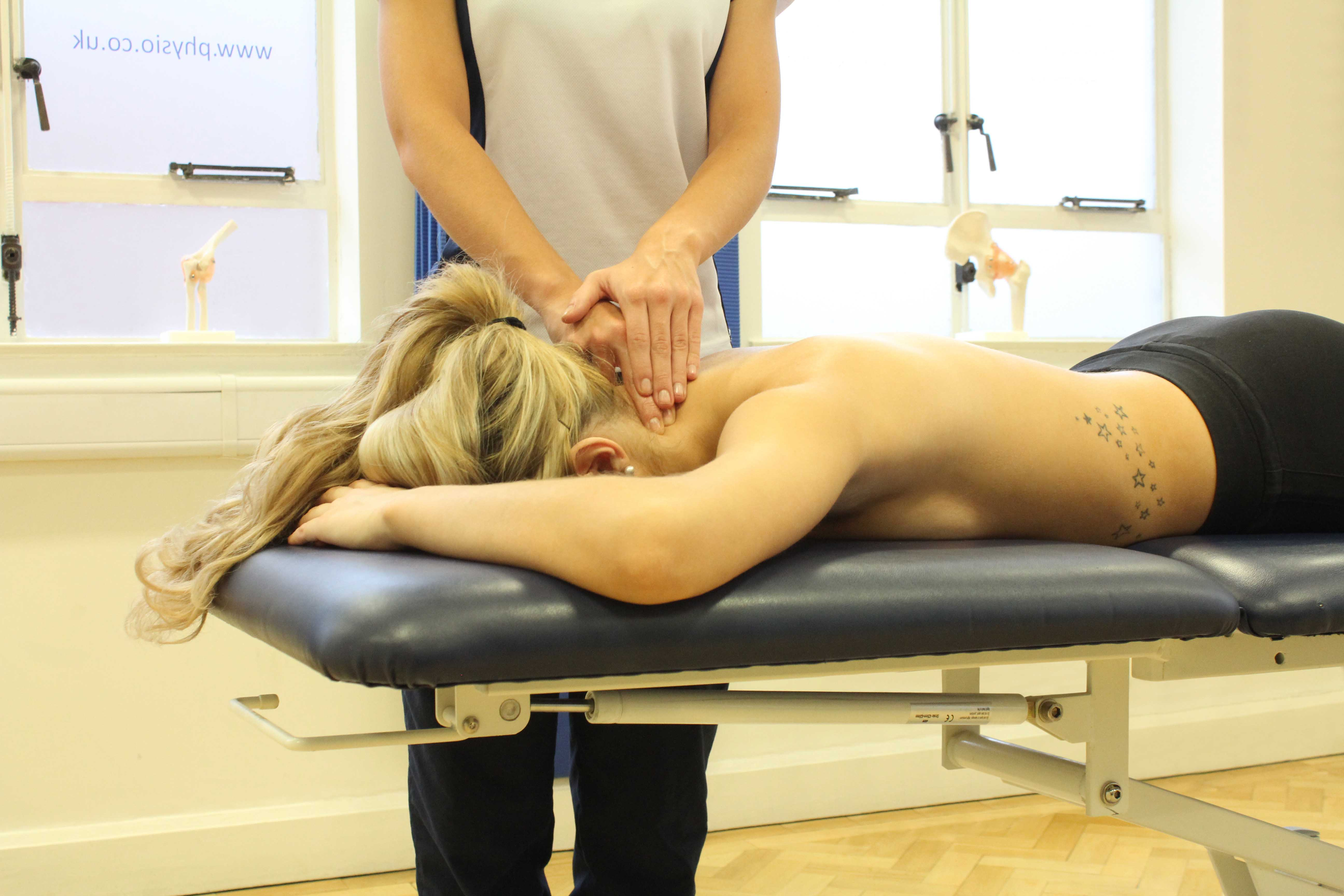 Mobilisations of the vertebrea in the cervical spine to reduce pain and stiffness