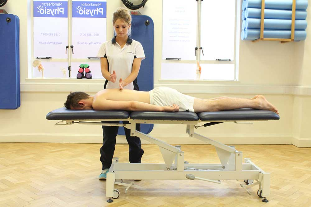 Percussion massage of latisimus dorsi for relaxation
