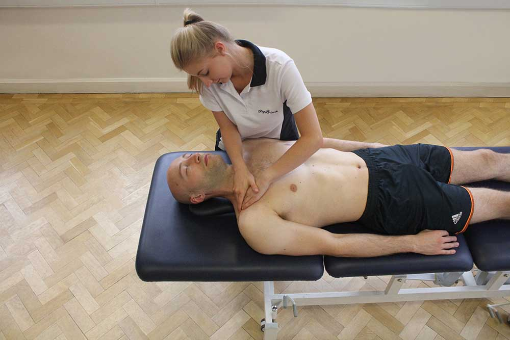 Remedial massage focused on pectoralis major and anterior deltoid