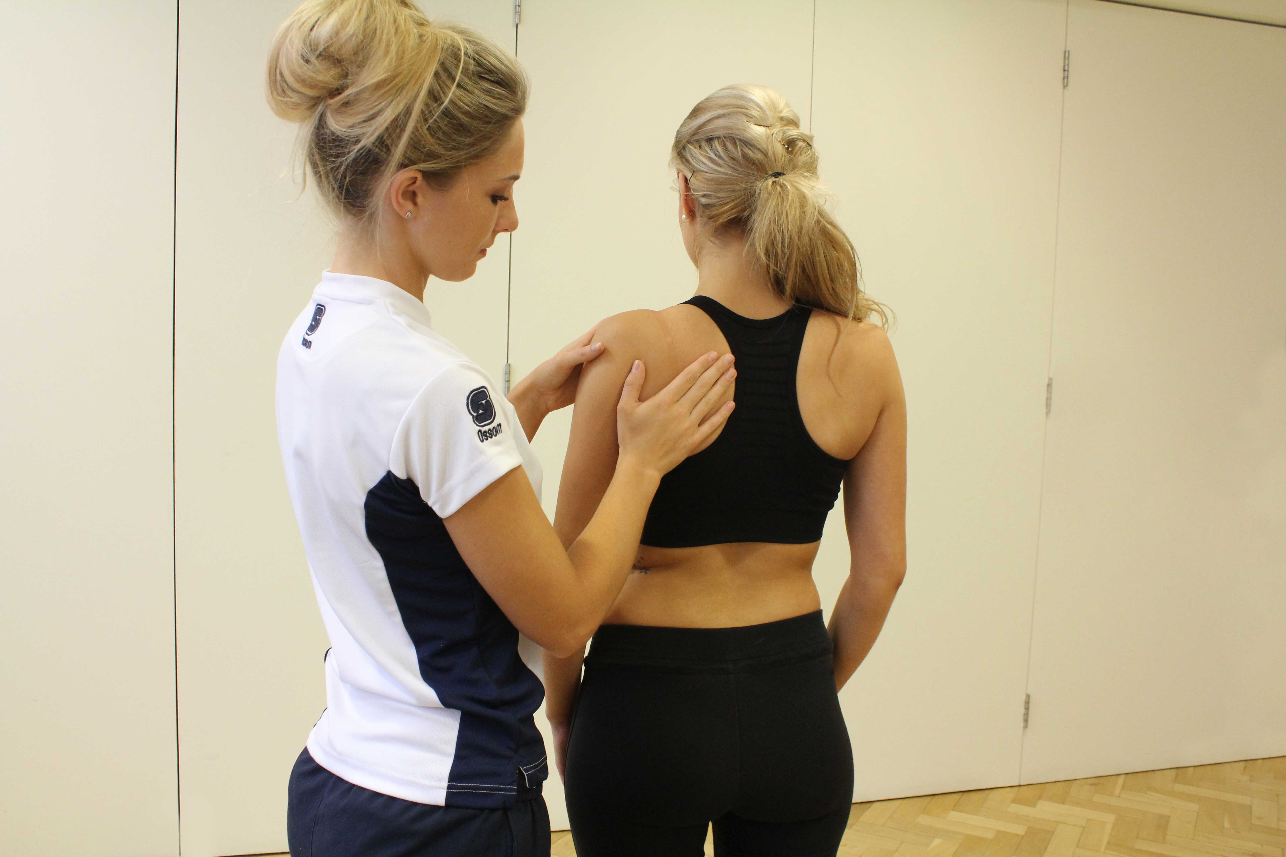 Our physiotherapist assessing range of movement in the shoulder.