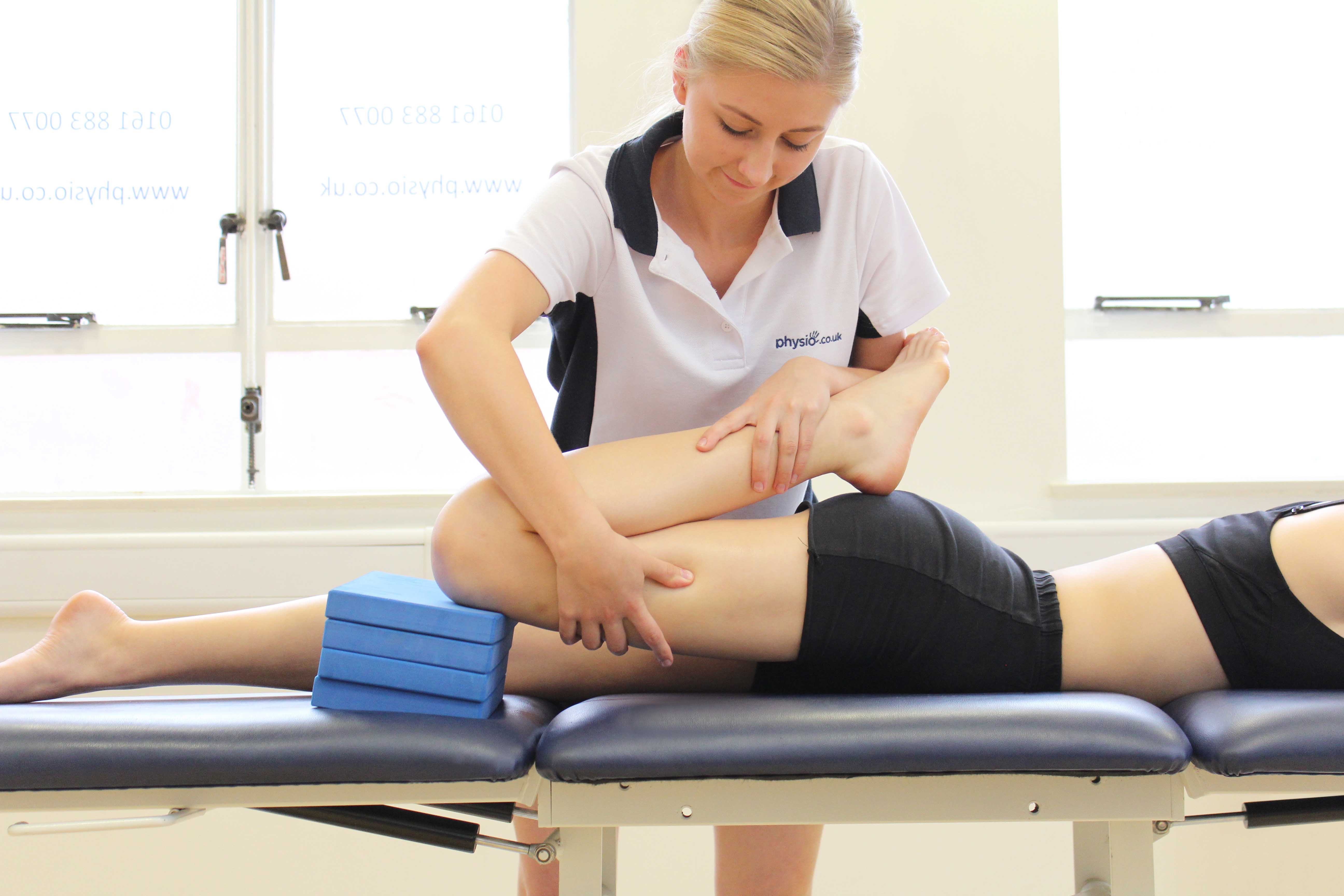 Our physiotherpaist undertakig a thorough lower limb assessment.